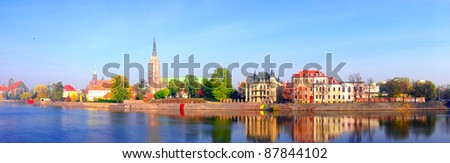 Panoramic view on Ostrow Tumski in Wroclaw, Poland - stock photo