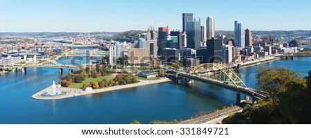 Panoramic view on Pittsburgh, PA skyline - stock photo