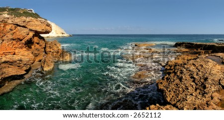 Panoramic view on rocks and Mediterranean sea in northern Israel.