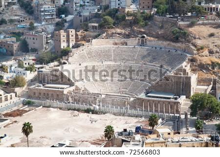 Panoramic view on Roman amphitheater in Amman, Al-Qasr site, Jordan - stock photo