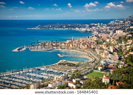 Panoramic view on Sanremo,  Azur coast,  Italy. - stock photo