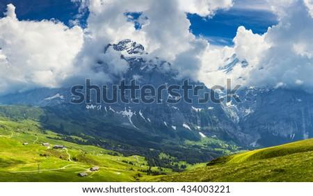 Panoramic View On Switzerland Mountain Landscape, Swiss alp, SwitzerlandInterlaken - Lauterbrunnen - stock photo
