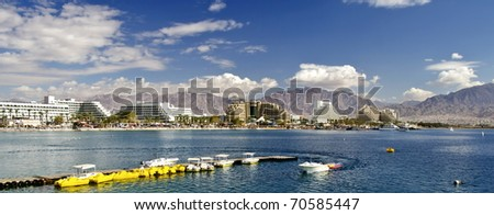 Panoramic view on the Aqaba gulf and resort hotels in Eilat city, Israel - stock photo