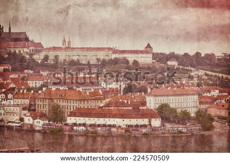 Panoramic View on the autumn Prague City with Castle and St. Nicholas' Cathedral, Czech Republic - stock photo