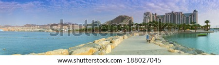 Panoramic view on the central beach of Eilat - famous resort city in Israel