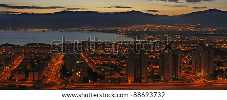 Panoramic view on the Gulf of Aqaba at sunrise