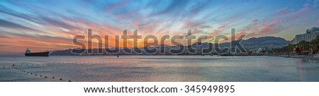 Panoramic view on the harbor of Eilat - the southernmost port and famous resort city in Israel - stock photo
