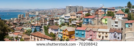 Panoramic view on the historic city of Valparaiso, Chile, UNESCO World Heritage. - stock photo