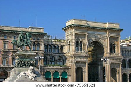 Panoramic view on the main square of Milan, including the Vittorio Emanuele II Gallery - stock photo