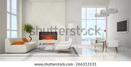 Panoramic view on the modern interior 3D rendering - stock photo