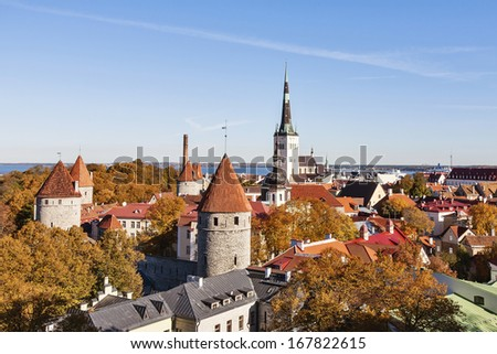 Panoramic view on the Old City of Tallinn - stock photo