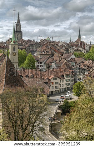 Panoramic view on the old town of Bern, capital of Switzerland