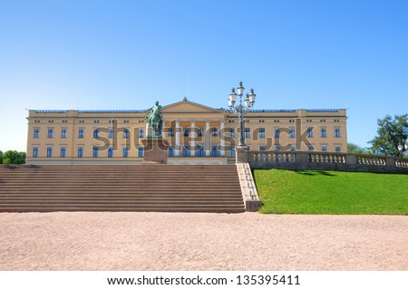 Panoramic view on the Royal Palace and gardens in Oslo, Norway - stock photo