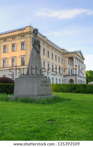 Panoramic view on the Royal Palace and Queen Maud statue in Oslo, Norway - stock photo