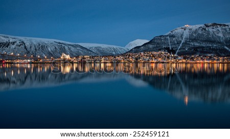 Panoramic view on Tromso, Norway  - stock photo