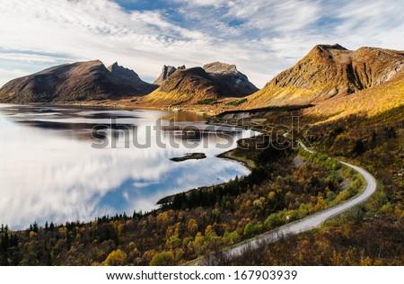 Panoramic view over beautiful Senja island in autumn - stock photo