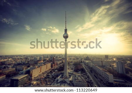 Panoramic view over Berlin at evening from the roof of the Hotel Park Inn Berlin, Panoramablick auf Deutschlands Hauptstadt Berlin am Abend vom Dach des Park Inn Hotel Berlin, vintage style - stock photo