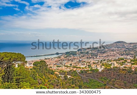 Panoramic view over Funchal, Madeira, Portugal with its harbor