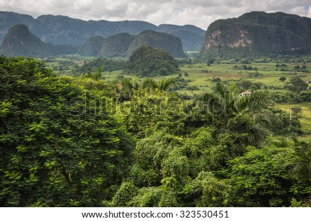 Panoramic view over landscape with mogotes in  Vinales Valley ,Cuba - stock photo