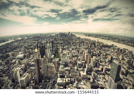 panoramic view over Manhattan, New York city from Empire State building, vintage style, New York City, USA - stock photo
