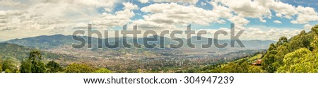 Panoramic view over Medellin, Colombia - stock photo