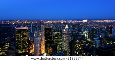 Panoramic view over New York at twilight