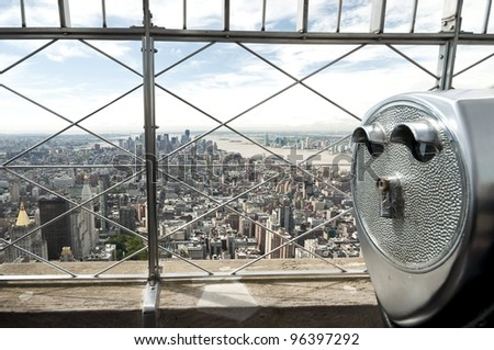 panoramic view over New York city from Empire State building, Panoramablick vom Empire State Building auf New York City - stock photo