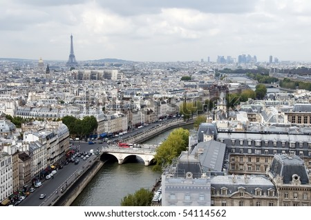 Panoramic view over Paris including the Eiffel tower. Paris, France, Europe