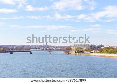 Panoramic view over Potomac river in Washington DC. The Key Bridge and Kennedy Center for the Performing Arts in spring. - stock photo