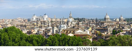 Panoramic view over Rome, Italy - stock photo