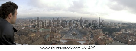 Panoramic view over Saint Peters Square, Rome, December 2004 - stock photo