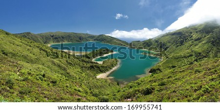 Panoramic View over the Lagoon of Fire (Lagoa do Fogo) at Sao Miguel (Azores islands) - stock photo