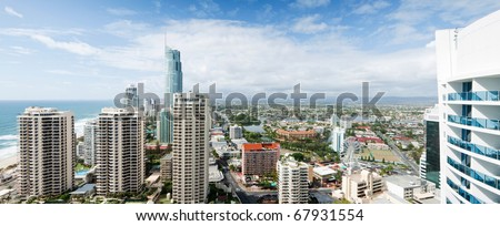 panoramic view over the modern city during the day - stock photo