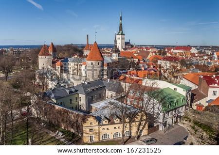 Panoramic view over the old town of Tallinn, Estonia - stock photo