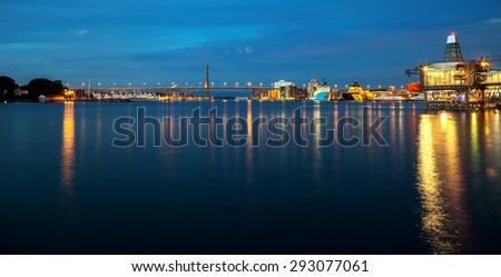 Panoramic view Port of Stavanger at night, Norway. - stock photo