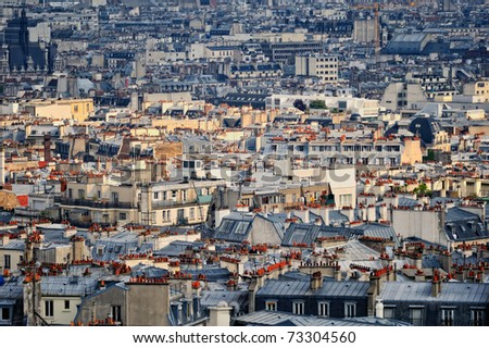 Panoramic view residential quarter of Montmartre in Paris. France - stock photo