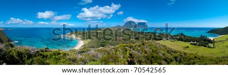 Panoramic view south over the idyllic Lord Howe Island from Malabar cliffs. Australia. - stock photo