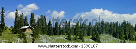 Panoramic view taken high in the Jura Mountains of Switzerland - stock photo