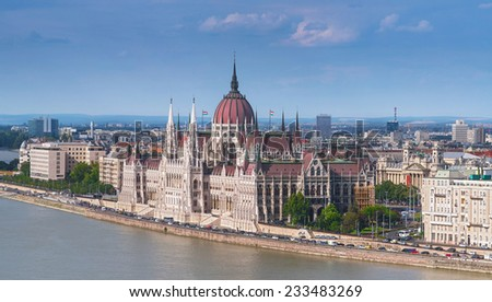 Panoramic view the building of the Parliament in Budapest, Hungary - the capital of Hungary - stock photo