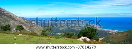 Panoramic view to Atlantic ocean in the Asturias, Spain. - stock photo