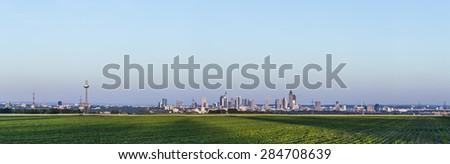 Panoramic view to Frankfurt am Main in horizon - stock photo