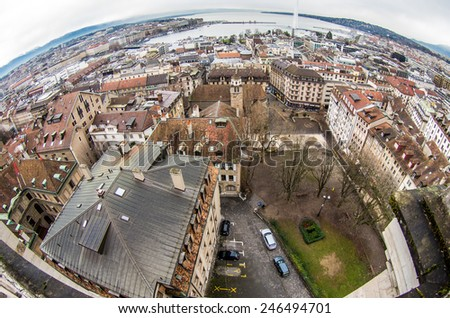 Panoramic view to historical center of Geneva, Switzerland, from Saint-Pierre cathedral in cloudy day at winter - architecture background - stock photo