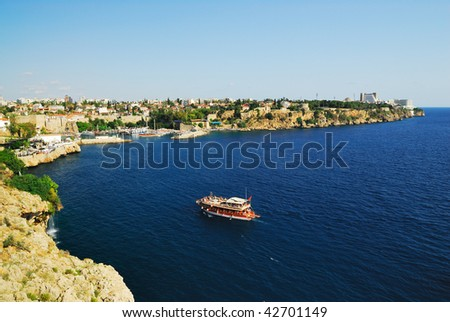 Panoramic view to old harbour in Antalya, Turkey - stock photo