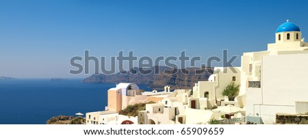 Panoramic view to the beautiful church and sea - stock photo