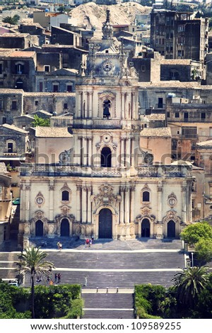 Panoramic view to the cathedral of Modica town in Sicily, Italy - stock photo