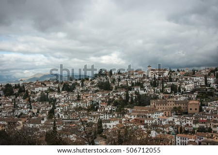 Panoramic view to the city at Granada, Andalusia, Spain