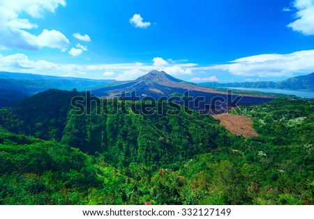 Panoramic view to the sacred mountain on Bali - stock photo