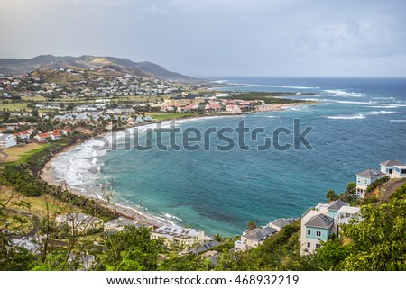Panoramic view to the Saint Kitts island and to Nevis island from Timothy Hill