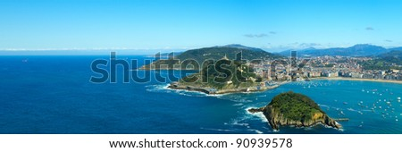Panoramic view to the San Sebastian bay and city (Donostia). - stock photo