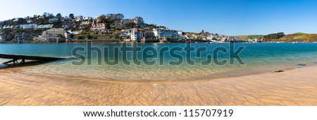 Panoramic view towards Salcombe from East Portlemouth Devon England UK - stock photo